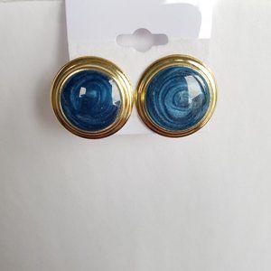 4/$20 Blue Swirly Earrings set in Silvery Metal